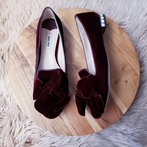 Miu Miu Bow Jewel-Heel Velvet Smoking Slippers